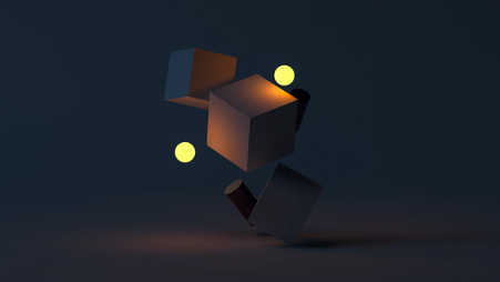 3D animated cubes on a black background