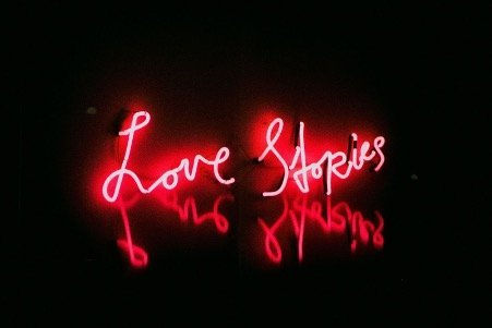 Love stories in red neon